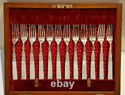 Vintage Scottish 24 piece Mother of Pearl Silver Plate Fruit Knife & Fork Set
