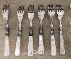 Vintage Sheffield Silver Mother of Pearl MOP Fish Knives & Forks Set For GUMPS 2