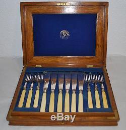 Vintage Silverplate Bakelite 24pc Dessert Knife Fork Set
