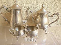 Vintage Tea/ Coffee Set marked''EP BRASS''/ Silver Plated on Brass/ 4 pieces