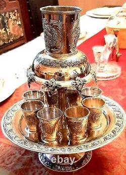 Vintage Wine Fountain Silver Plate Kiddush Set of 8 on Pedestal
