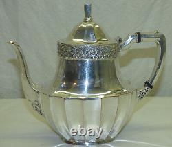 Vtg 4 Pc Silver Plate Community Coronation Coffee Pot Teapot Creamer Sugar Set