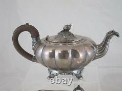 Vtg Community Plate Old English Melon Silverplate Tea Set Coffee Creamer Sugar