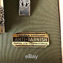 Vtg Coronation Oneida Community 1936 Silverplate Flatware 54pc Case Art Deco