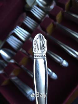 Vtg Silverplate HOLMES & EDWARDS DANISH PRINCESS FLATWARE SET Service For 12