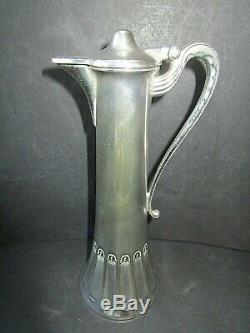 WMF Art Nouveau Silver Plate Liqueur Set Decanter & Six Metal Tumblers