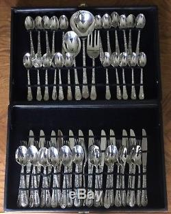 WM Rogers Enchanted Rose Silverware Flatware Set Case 60 Pieces Silver Plated