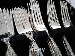 WM Rogers & Son Enchanted Rose 41 Silverplate Pieces Flatware Set