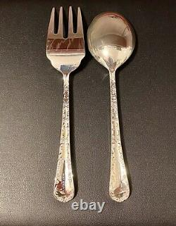WM Rogers and Son Enchanted Rose Flatware Silver Plated Set with Case 42 pcs
