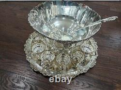 Wallace Baroque Silverplate 16 pc Punch Bowl Set 13 Cups, 21 Tray & Ladle