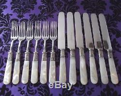 Wm Rogers Mfg Mother of Pearl Handle 12 Pc Knife & Fork Set withFloral Ferrules