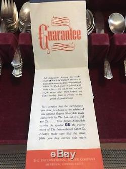 Wm Rogers Overlaid IS Silverplate TREASURE Flatware Set, 57 pcs, 1940's, with Case