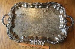 XL Sheridan Silverplate Serving Tray Waiter Butler Tea set Platter Footed 30x18